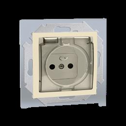 Gniazdo wtyczkowe pojedyncze do wersji IP44  - bez uszczelki -  klapka w kolorze pokrywy - do ramek wielokrotnych beżowy 16A-254