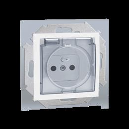 Gniazdo wtyczkowe pojedyncze do wersji IP44 z przesłonami torów prądowych - bez uszczelki - klapka w kolorze pokrywy biały 16A-2