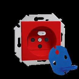 Gniazdo wtyczkowe pojedyncze DATA z kluczem uprawniającym czerwony 16A-254675