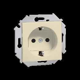 Gniazdo wtyczkowe pojedyncze z uziemieniem typu Schuko beżowy 16A-254680