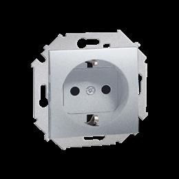 Gniazdo wtyczkowe pojedyncze z uziemieniem typu Schuko aluminiowy, metalizowany 16A-254681