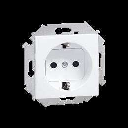 Gniazdo wtyczkowe pojedyncze z uziemieniem typu Schuko z przesłonami torów prądowych biały 16A-254682
