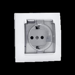 Gniazdo wtyczkowe pojedyncze do wersji IP44 z uziemieniem typu Schuko - z uszczelką ramki - klapka w kolorze transparentnym biał