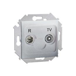 Gniazdo antenowe R-TV przelotowe tłum.:10dB aluminiowy, metalizowany-254693