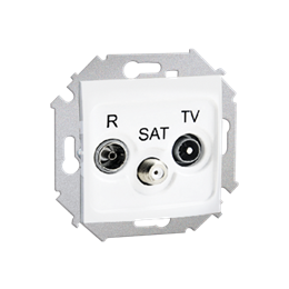 Gniazdo antenowe R-TV-SAT przelotowe tłum.:10dB biały-254703