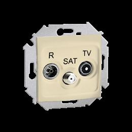Gniazdo antenowe R-TV-SAT przelotowe tłum.:10dB beżowy-254704