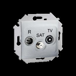 Gniazdo antenowe R-TV-SAT przelotowe tłum.:10dB aluminiowy, metalizowany-254705