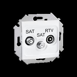 Gniazdo antenowe SAT-SAT-RTV satelitarne podwójne tłum.:1dB biały-254706