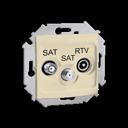 Gniazdo antenowe SAT-SAT-RTV satelitarne podwójne tłum.:1dB beżowy-254713