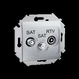 Gniazdo antenowe SAT-SAT-RTV satelitarne podwójne tłum.:1dB aluminiowy, metalizowany-254714
