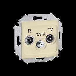 Gniazdo antenowe R-TV-DATA tłum.:10dB beżowy-254708