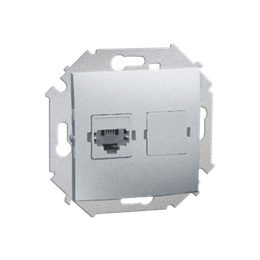 Gniazdo telefoniczne pojedyncze RJ12 aluminiowy, metalizowany-254726