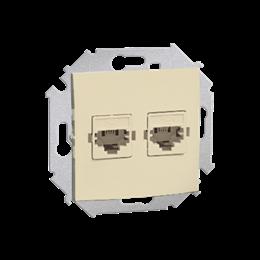 Gniazdo telefoniczne podwójne RJ12 beżowy-254731