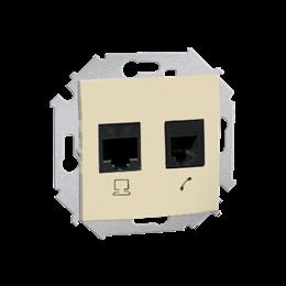 Gniazdo komputerowe RJ45 kategoria 6 + telefoniczne RJ12 beżowy-254758