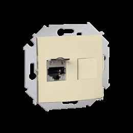 Gniazdo komputerowe pojedyncze ekranowane RJ45 kategoria 6, z przesłoną przeciwkurzową beżowy-254744