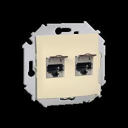Gniazdo komputerowe podwójne ekranowane RJ45 kategoria 6, z przesłoną przeciwkurzową beżowy-254756