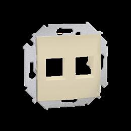 Pokrywa gniazd teleinformatycznych na Keystone płaska podwójna beżowy-254761