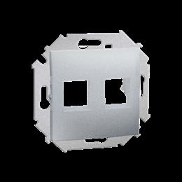 Pokrywa gniazd teleinformatycznych na Keystone płaska podwójna aluminiowy, metalizowany-254762