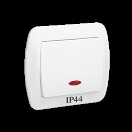 Łącznik jednobiegunowy z podświetleniem bryzgoszczelny biały 10AX-255458