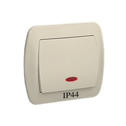 Łącznik jednobiegunowy z podświetleniem bryzgoszczelny beżowy 10AX-255459