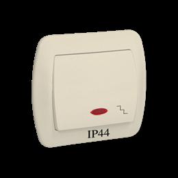 Łącznik schodowy  podświetleniem bryzgoszczelny IP44 beżowy 10AX-255487