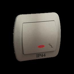Łącznik schodowy  podświetleniem bryzgoszczelny IP44 satynowy, metalizowany 10AX-255488