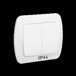Łącznik schodowy podwójny z podświetleniem bryzgoszczelny biały 10AX-255502