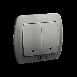 Przycisk żaluzjowy pojedynczy bryzgoszczelny aluminiowy, metalizowany 10A-255561