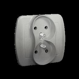 Gniazdo wtyczkowe podwójne z uziemieniem aluminiowy, metalizowany 16A-255597