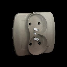 Gniazdo wtyczkowe podwójne z uziemieniem satynowy, metalizowany 16A-255598