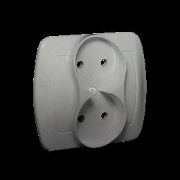 Gniazdo wtyczkowe podwójne bez uziemienia aluminiowy, metalizowany 16A-255605
