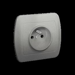 Gniazdo wtyczkowe pojedyncze z uziemieniem aluminiowy, metalizowany 16A-255581