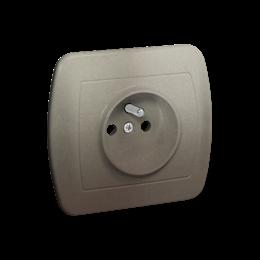 Gniazdo wtyczkowe pojedyncze z uziemieniem z przesłonami torów prądowych satynowy, metalizowany 16A-255586
