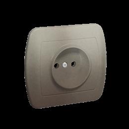 Gniazdo wtyczkowe pojedyncze bez uziemienia satynowy, metalizowany 16A-255590