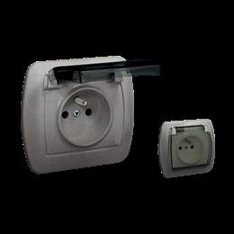 Gniazdo wtyczkowe pojedyncze z uziemieniem - w wersji IP44 - klapka z kolorze transparentnym aluminiowy, metalizowany 16A-255630