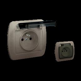 Gniazdo wtyczkowe pojedyncze z uziemieniem - w wersji IP44 - klapka z kolorze transparentnym satynowy, metalizowany 16A-255631