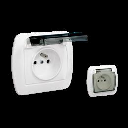Gniazdo wtyczkowe pojedyncze w wersji IP44 z przesłonami torów prądowych -  klapka w kolorze transparentnym biały 250A-255632