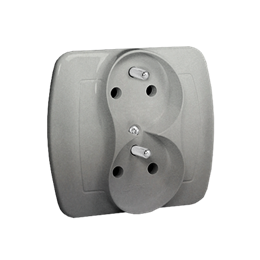 Gniazdo wtyczkowe podwójne z uziemieniem z funkcją niezmienności faz aluminiowy, metalizowany 16A-255625