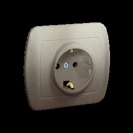 Gniazdo wtyczkowe pojedyncze z uziemieniem typu Schuko z przesłonami torów prądowych satynowy, metalizowany 16A-255614