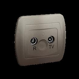 Gniazdo antenowe R-TV końcowe separowane tłum.:1dB satynowy, metalizowany-255643