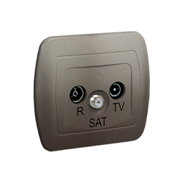 Gniazdo antenowe R-TV-SAT końcowe/zakończeniowe tłum.:1dB satynowy, metalizowany-255647