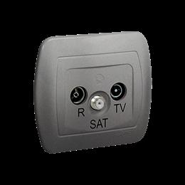 Gniazdo antenowe R-TV-SAT przelotowe tłum.:10dB aluminiowy, metalizowany-255650