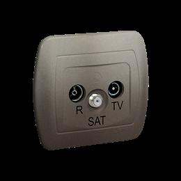 Gniazdo antenowe R-TV-SAT przelotowe tłum.:10dB satynowy, metalizowany-255651