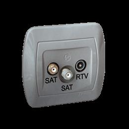 Gniazdo antenowe SAT-SAT-RTV satelitarne podwójne tłum.:1dB aluminiowy, metalizowany-255654