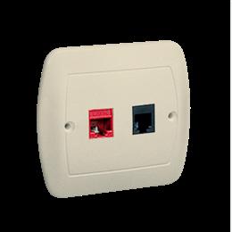 Gniazdo komputerowe RJ45 kategoria 5e + telefoniczne RJ11 beżowy-255694