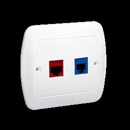 Gniazdo komputerowe RJ45 kategoria 5e + telefoniczne RJ12 biały-255697