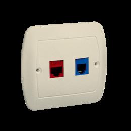 Gniazdo komputerowe RJ45 kategoria 5e + telefoniczne RJ12 beżowy-255698