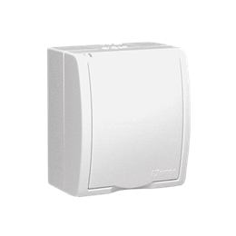 Gniazdo wtyczkowe pojedyncze z uziemieniem - w wersji IP54 -  klapka w kolorze białym biały 16A-255721