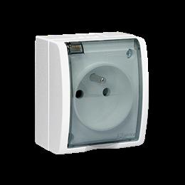 Gniazdo wtyczkowe pojedyncze z uziemieniem - w wersji IP54 z przesłonami torów prądowych -  klapka w kolorze transparentnym biał
