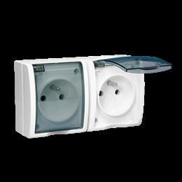 Gniazdo wtyczkowe podwójne z uziemieniem w wersji IP54 z przesłonami torów prądowych - klapka w kolorze transparentnym biały 16A